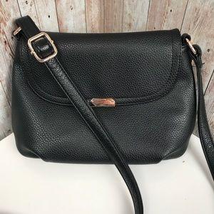 AIBKHK black leather front flap crossbody